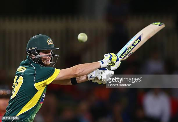 Steve Smith of Australia bats during the One Day International Tri Series match between Australia and England at Blundstone Arena on January 23 2015...
