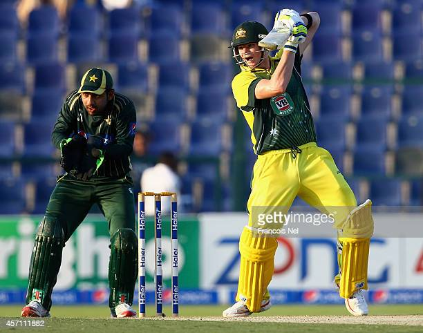 Steve Smith of Australia bats during the third match of the one day international series between Australia and Pakistan at Sheikh Zayed Stadium on...