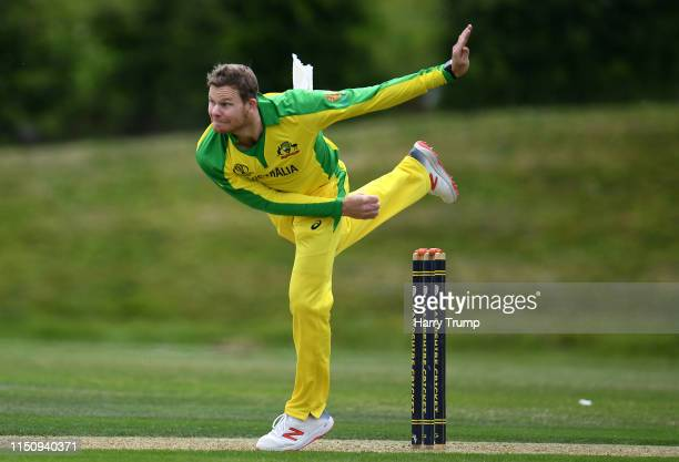 Steve Smith of Australia bowls during the One Day International match between Australia and West Indies at the Ageas Bowl on May 22, 2019 in...
