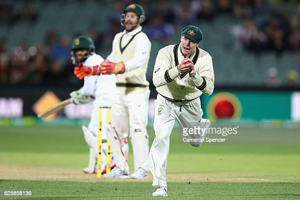 Steve Smith of Australia catches Temba Bavuma of South Africa off a delivery by team mate Nathan Lyon during day three of the Third Test match...