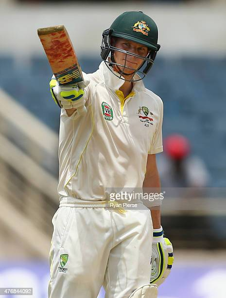 Steve Smith of Australia celebrates after reaching 150 runs during day two of the Second Test match between Australia and the West Indies at Sabina...