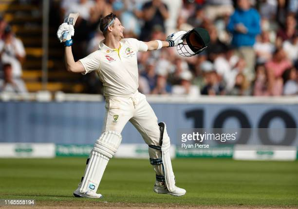 Steve Smith of Australia celebrates after reaching his century during Day One of the 1st Specsavers Ashes Test between England and Australia at...
