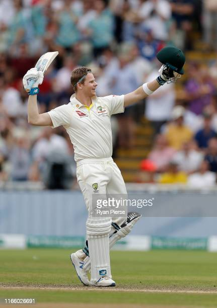 Steve Smith of Australia celebrates after reaching his century during day four of the 1st Specsavers Ashes Test between England and Australia at...
