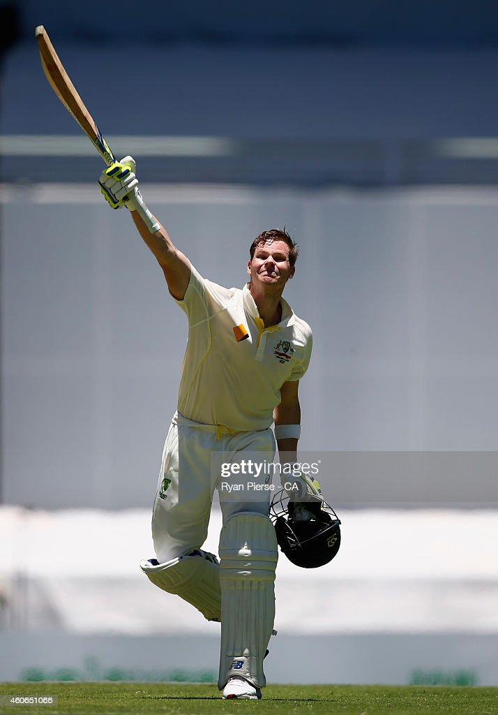Steve Smith of Australia celebrates after reaching his century during day three of the 2nd Test match between Australia and India at The Gabba on December 19, 2014 in Brisbane, Australia.