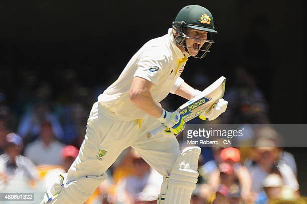 Steve Smith of Australia celebrates after reaching his century during day three of the 2nd Test match between Australia and India at The Gabba on...