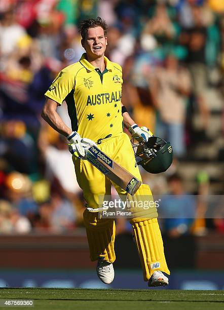 Steve Smith of Australia celebrates after reaching his century during the 2015 Cricket World Cup Semi Final match between Australia and India at...