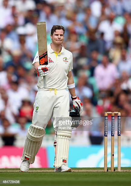 Steve Smith of Australia celebrates after reaching his century during day two of the 5th Investec Ashes Test match between England and Australia at...