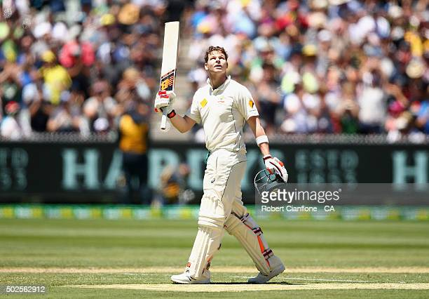 Steve Smith of Australia celebrates after reaching his century during day two of the Second Test match between Australia and the West Indies at the...