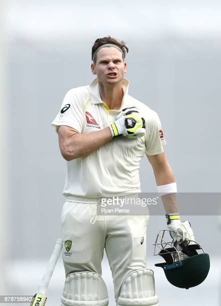 Steve Smith of Australia celebrates after reaching his century during day three of the First Test Match of the 2017/18 Ashes Series between Australia...