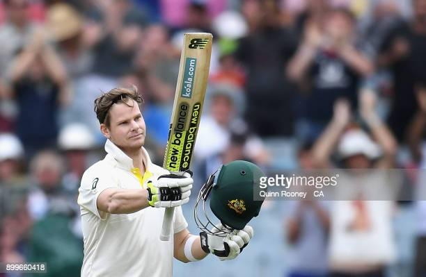 Steve Smith of Australia celebrates after reaching his century during day four of the Fourth Test Match in the 2017/18 Ashes series between Australia...