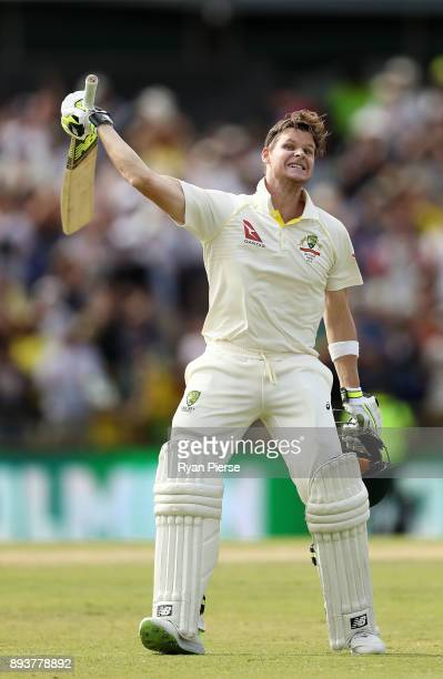 Steve Smith of Australia celebrates after reaching his double century during day three of the Third Test match during the 2017/18 Ashes Series...