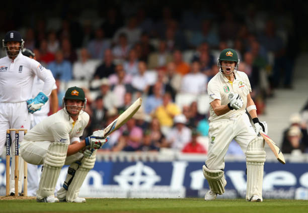 Steve Smith of Australia celebrates after reaching his maiden century during day two of the 5th Investec Ashes Test match between England and...