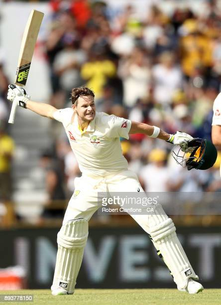 Steve Smith of Australia celebrates after scoring his double century during day three of the Third Test match during the 2017/18 Ashes Series between...