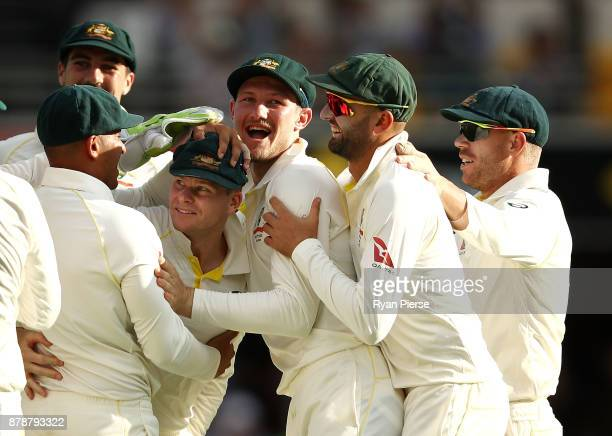 Steve Smith of Australia celebrates after taking a catch to dismiss James Vince of England off the bowling of Josh Hazlewood of Australia during day...