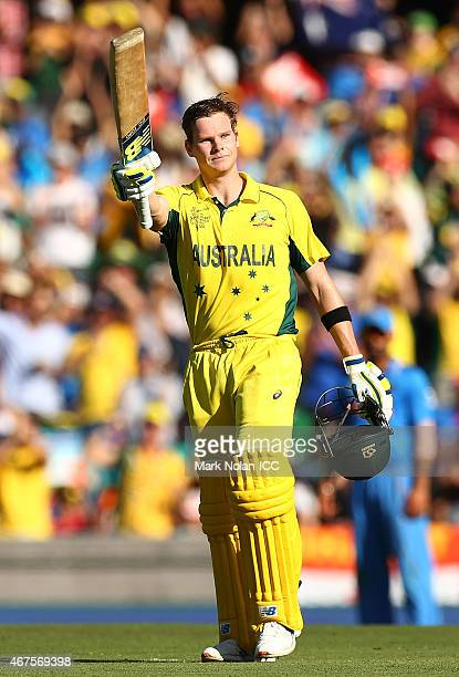 Steve Smith of Australia celebrates and acknowledges the crowd after scoring a century during the 2015 Cricket World Cup Semi Final match between...