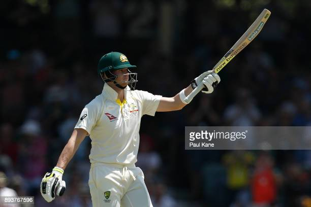 Steve Smith of Australia celebrates his 150 during day three of the Third Test match during the 2017/18 Ashes Series between Australia and England at...