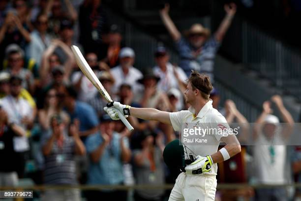 Steve Smith of Australia celebrates his 200 during day three of the Third Test match during the 2017/18 Ashes Series between Australia and England at...