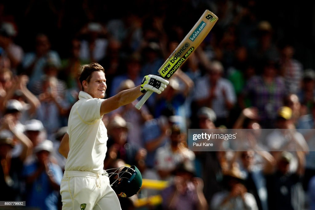 Steve Smith of Australia celebrates his 200 during day three of the Third Test match during the 2017/18 Ashes Series between Australia and England at WACA on December 16, 2017 in Perth, Australia.