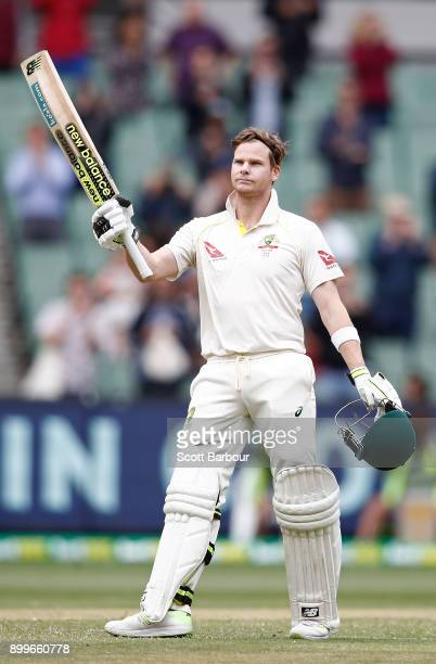 Steve Smith of Australia celebrates his century during day one of the Fourth Test Match in the 2017/18 Ashes series between Australia and England at...