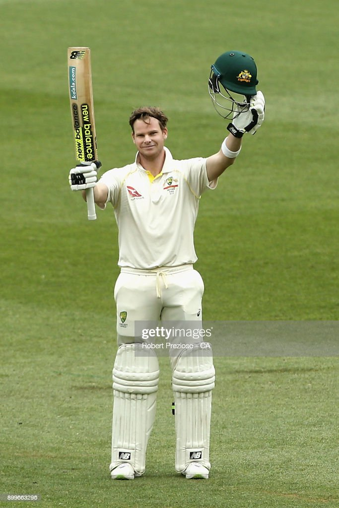 Steve Smith of Australia celebrates his century during day one of the Fourth Test Match in the 2017/18 Ashes series between Australia and England at Melbourne Cricket Ground on December 30, 2017 in Melbourne, Australia.