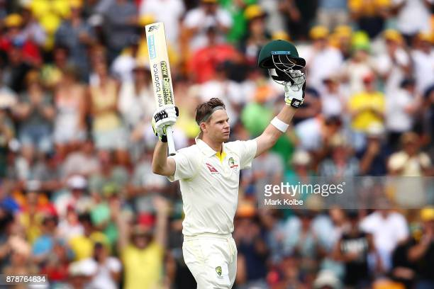 Steve Smith of Australia celebrates his century during day three of the First Test Match of the 2017/18 Ashes Series between Australia and England at...