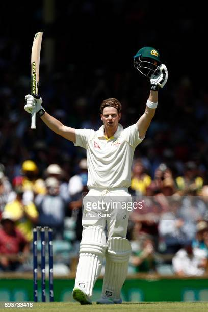 Steve Smith of Australia celebrates his century during day three of the Third Test match during the 2017/18 Ashes Series between Australia and...