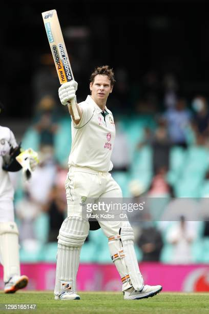 Steve Smith of Australia celebrates his century during day two of the Third Test match in the series between Australia and India at Sydney Cricket...