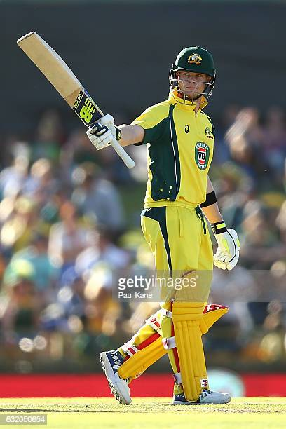 Steve Smith of Australia celebrates his half century during game three of the One Day International series between Australia and Pakistan at WACA on...