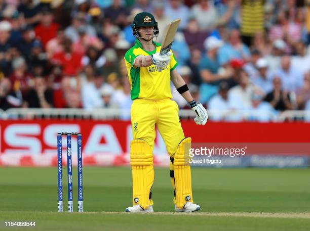 Steve Smith of Australia celebrates his half century during the Group Stage match of the ICC Cricket World Cup 2019 between Australia and the West...