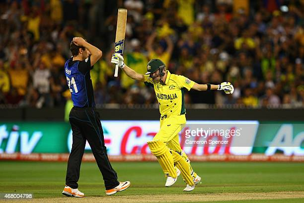 Steve Smith of Australia celebrates hitting the winning runs during the 2015 ICC Cricket World Cup final match between Australia and New Zealand at...
