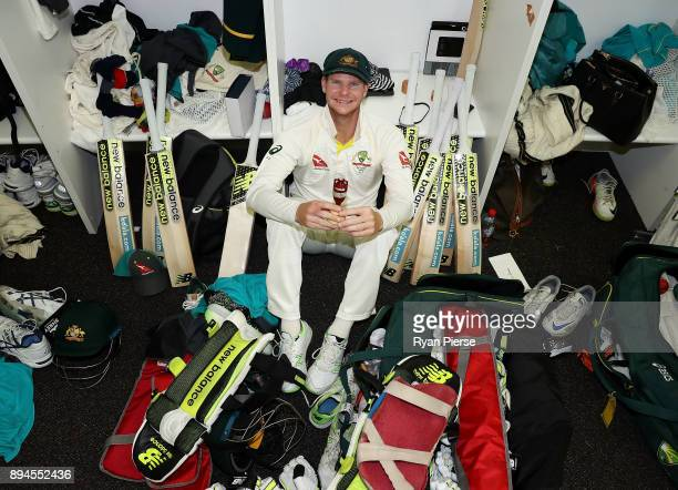 Steve Smith of Australia celebrates in the changerooms after Australia regained the Ashes during day five of the Third Test match during the 2017/18...