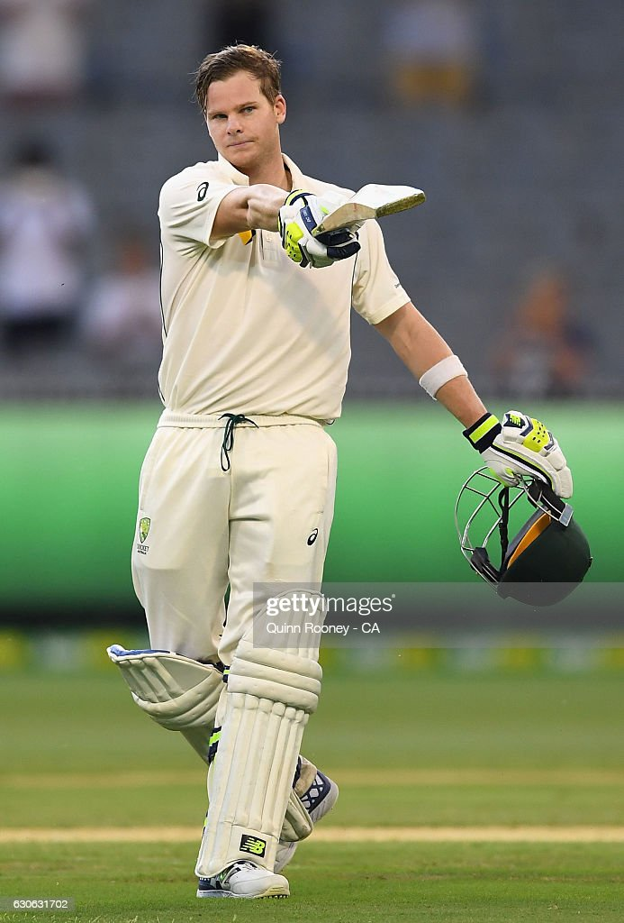 Steve Smith of Australia celebrates making 100 runs during day four of the Second Test match between Australia and Pakistan at Melbourne Cricket Ground on December 29, 2016 in Melbourne, Australia.