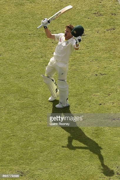 Steve Smith of Australia celebrates making 200 runs during day three of the Third Test match during the 2017/18 Ashes Series between Australia and...