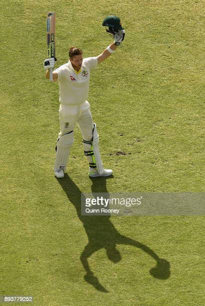 Steve Smith of Australia celebrates making 200runs during day three of the Third Test match during the 2017/18 Ashes Series between Australia and...