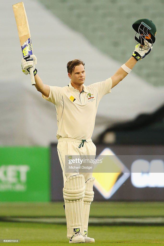 Steve Smith of Australia celebrates making a century during day four of the Second Test match between Australia and Pakistan at Melbourne Cricket Ground on December 29, 2016 in Melbourne, Australia.