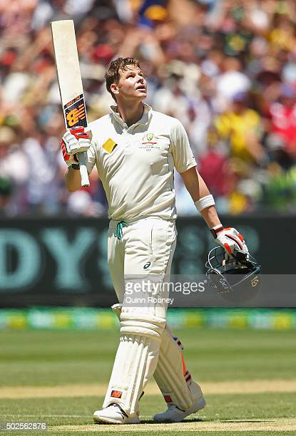 Steve Smith of Australia celebrates making a century during day two of the Second Test match between Australia and the West Indies at Melbourne...