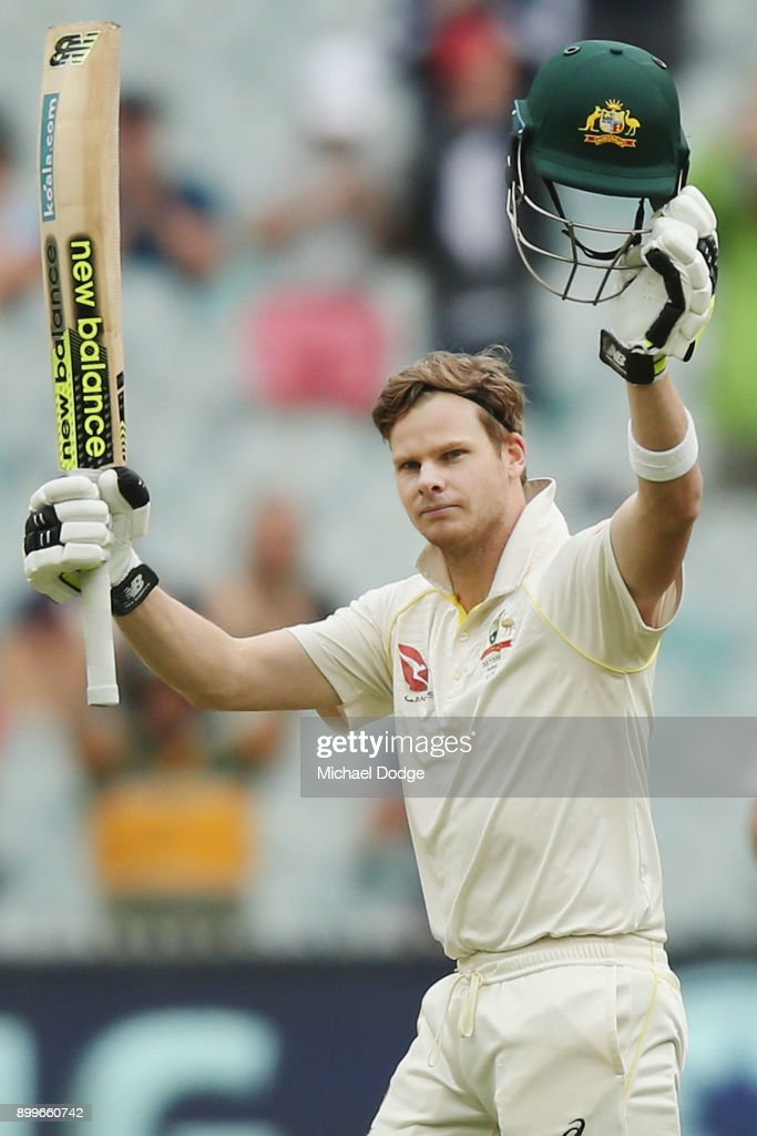 Steve Smith of Australia celebrates making his century during day one of the Fourth Test Match in the 2017/18 Ashes series between Australia and England at Melbourne Cricket Ground on December 30, 2017 in Melbourne, Australia.