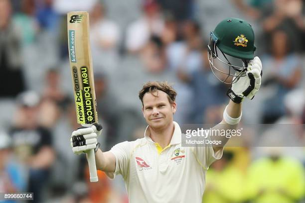 Steve Smith of Australia celebrates making his century during day one of the Fourth Test Match in the 2017/18 Ashes series between Australia and...