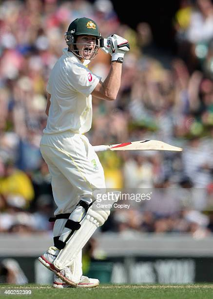 Steve Smith of Australia celebrates reaching his century during day one of the Fifth Ashes Test match between Australia and England at Sydney Cricket...