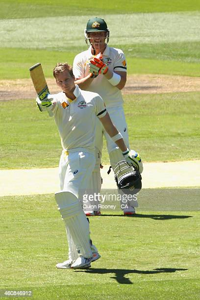 Steve Smith of Australia celebrates reaching his century during day two of the Third Test match between Australia and India at Melbourne Cricket...
