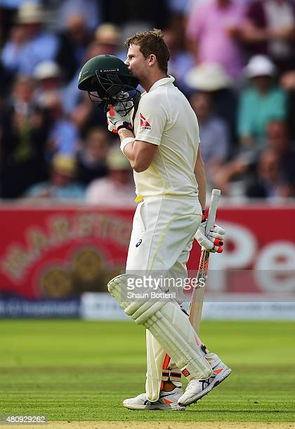 Steve Smith of Australia celebrates reaching his century during day one of the 2nd Investec Ashes Test match between England and Australia at Lord's...
