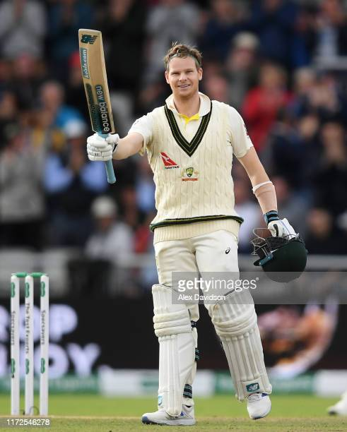 Steve Smith of Australia celebrates reaching his double century during Day Two of the 4th Specsavers Ashes Test between England and Australia at Old...
