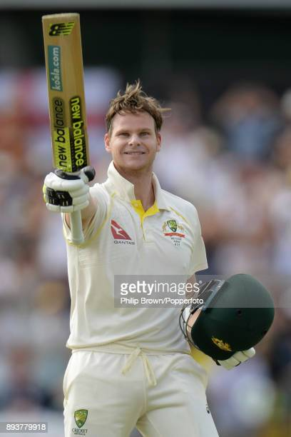 Steve Smith of Australia celebrates reaching his double century on the third day of the third Ashes cricket test match between Australia and England...