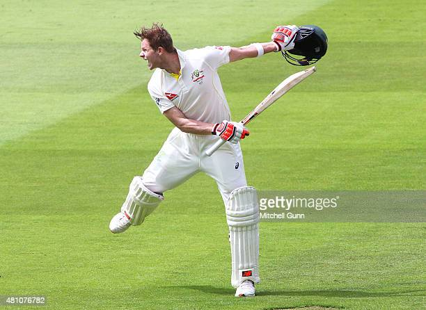 Steve Smith of Australia celebrates scoring 200 runs during day two of the 2nd Investec Ashes Test match between England and Australia at Lord's...