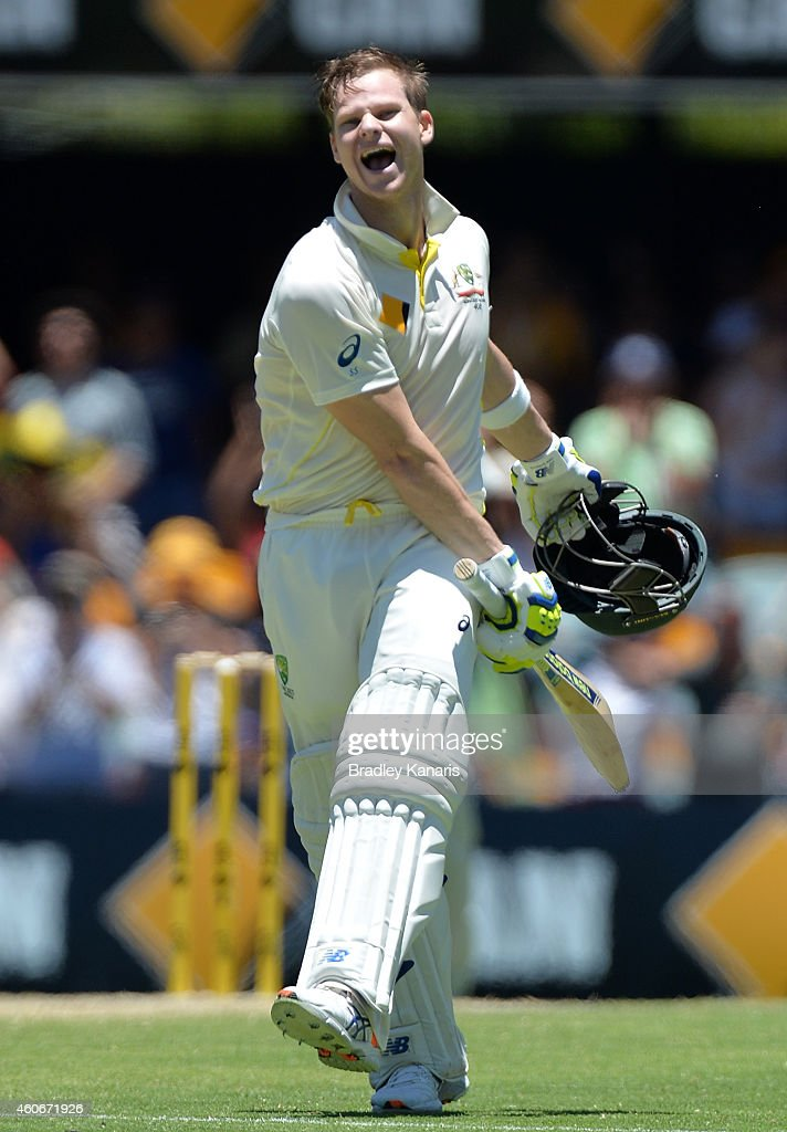 Steve Smith of Australia celebrates scoring a century during day three of the 2nd Test match between Australia and India at The Gabba on December 19, 2014 in Brisbane, Australia.