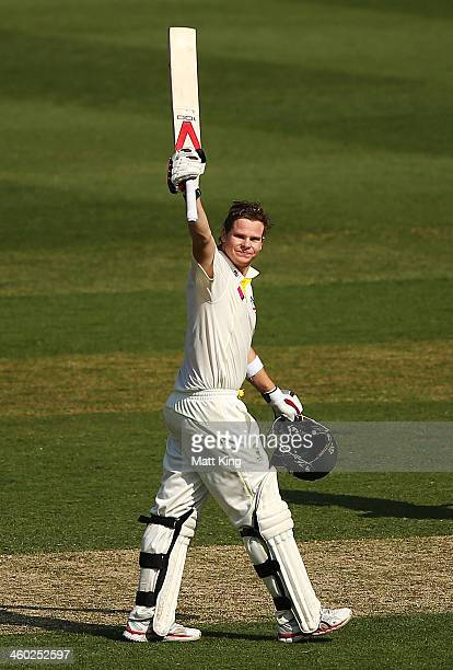 Steve Smith of Australia celebrates scoring a century during day one of the Fifth Ashes Test match between Australia and England at Sydney Cricket...