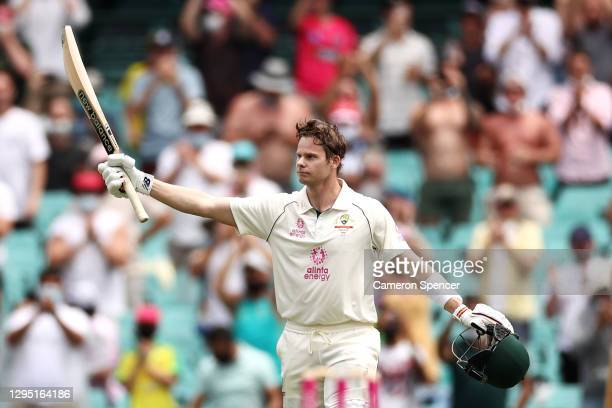 Steve Smith of Australia celebrates scoring a century during day two of the Third Test match in the series between Australia and India at Sydney...
