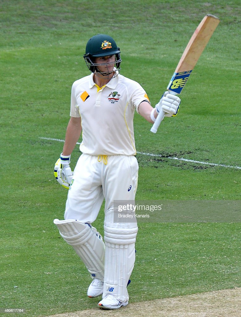 Steve Smith of Australia celebrates scoring a half century during day two of the 2nd Test match between Australia and India at The Gabba on December 18, 2014 in Brisbane, Australia.