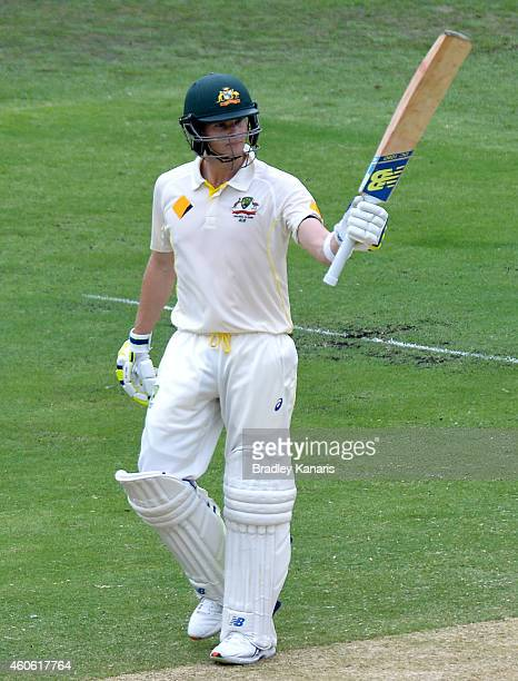 Steve Smith of Australia celebrates scoring a half century during day two of the 2nd Test match between Australia and India at The Gabba on December...