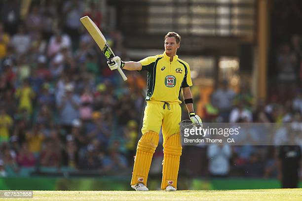 Steve Smith of Australia celebrates scoring his century during game one of the One Day International series between Australia and New Zealand at...